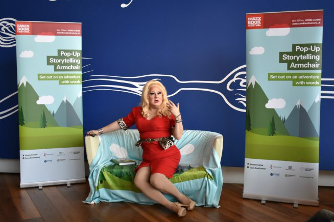 An image of Bunny Galore on our storytelling armchair